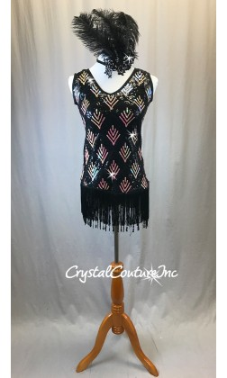 Black Sheer Mesh Dress with Black/Gold Sequins and Fringe - Rhinestones - Size AS