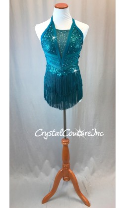Dark Teal Blue Zsa Zsa Leotard with Fringe Skirt - Rhinestones