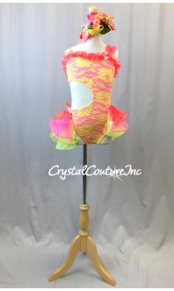Bright Yellow Lace and Hot Pink Leotard with Tiered Skirt - Swarovski Rhinestones - Size YM