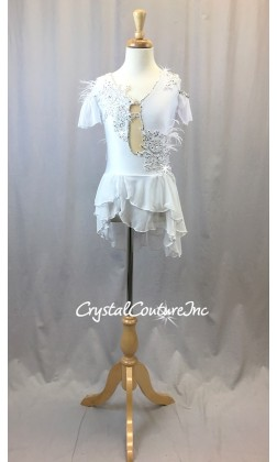 White Lycra Leotard with Asymmetrical Sheer Mesh Skirt - Swarovski Rhinestones - Size YM