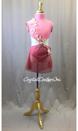 Pink Ombre Connected Top and Trunk/Mesh Skirt - Swarovski Rhinestones - Size YM