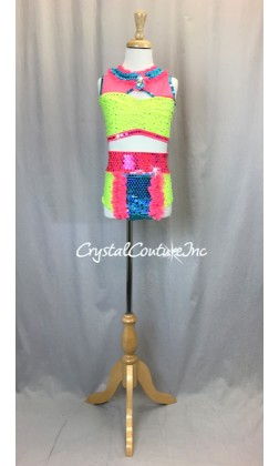 Bright Yellow, Coral and Teal Blue Color Block 2 Piece Top and Trunk - Swarovski Rhinestones - Size YL
