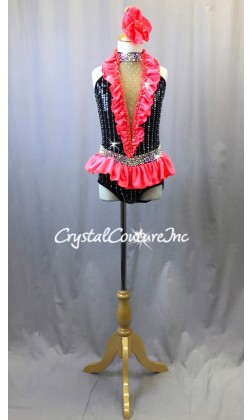 Black Leotard with Coral Accent Ruffles - Swarovski Rhinestones