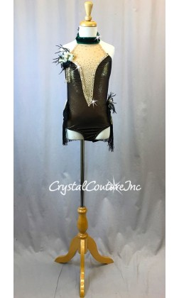Black Mesh and Gold Shimmery Leotard with Lace & Fringe Skirt - Swarovski Rhinestones - Size  YM