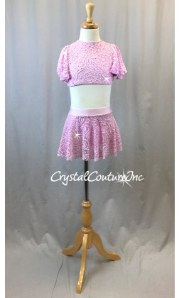 Lt Pink Open Lace Net Flutter Sleeve Top and Skirt/Trunk - Swarovski Rhinestones - Size YM