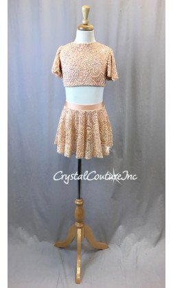 Lt Peach Open Lace Net Flutter Sleeve Top and Skirt/Trunk - Swarovski Rhinstones - Size YM