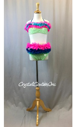 Lt Breen Top & Trunk with Hot Pink, Royal Blue & Turquoise Ruffles - Swarovski Rhinestones - Size YM