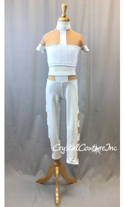 White Lycra Crop Top and Crop Leggings with Nude mesh insets