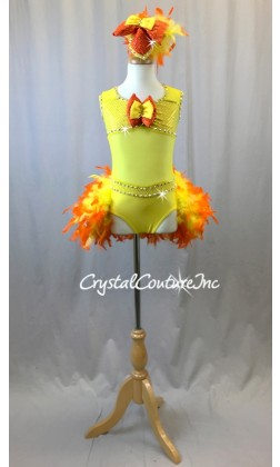 Yellow Lycra and Sheer Leotard with Orange/Yellow Feather Bustle - Swarovski Rhinestones - Size YM