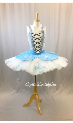 Lt Blue and White Peasant Inspired Platter Tutu - Size YM