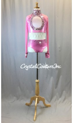 Shimmery Pink Long Sleeve Top and Trunk/Beaded Fringe - Swarovski Rhinestones
