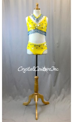 Bright Yellow Stretch Pleather 2 Piece Top and Trunk - Swarovski Rhinestones - Size YL
