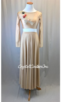 Nude Long Sleeve Lycra and Mesh Top with Long Full Skirt - Size AS