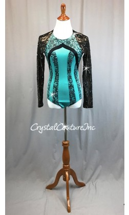 Turquoise & Black with Floral lace Long Sleeves - Swarovski Rhinestones