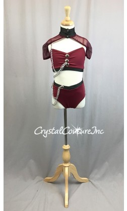 Burgundy and Graphite Lycra 3pc Top, Trunk with Sheer Mesh Shrug