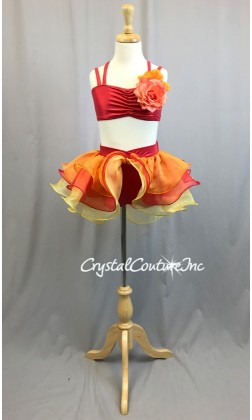 Shimmery Red Top and Booty Short with Bright Orange, Red, Yellow Ruffled Skirt