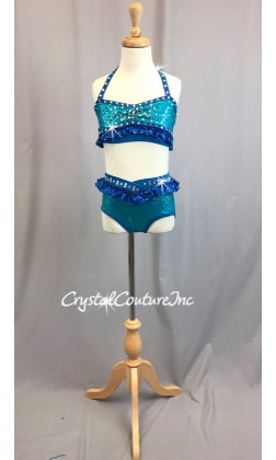 Teal Blue Halter Top & Trunk with Royal Blue Accents - Swarovski Rhinestones