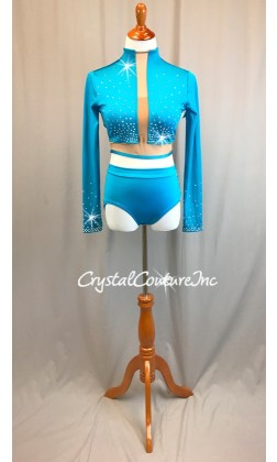 Turquoise Long Sleeve Crop Top and Trunks with Nude Insets - Swarovski Rhinestones