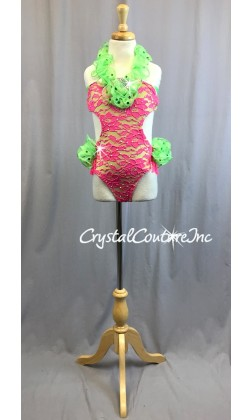 Hot Pink Floral Lace Leotard with Lime Green Accents - Swarovski Rhinestones