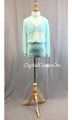 Aqua Blue Blouson Style Long Sleeve Leotard with Lycra Top and Trunk