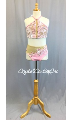 Lt Pink Embroidered Top and Lycra Trunk with Sheer Nude Mesh Insets - Swarovski Rhinestones