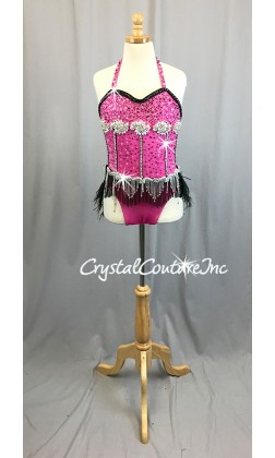 Pink Corset Style Leotard with Black Accents and Beaded Fringe/Feather Skirt - Swarovski Rhinestones