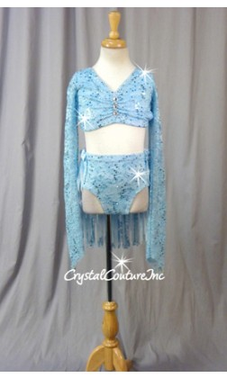 Light Blue Long-Sleeved Lace Crop Top & Piecy Skirt