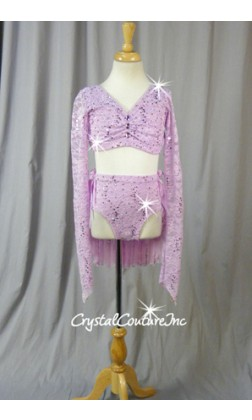 Orchid Purple Long-Sleeved Lace Crop Top & Piecy Skirt - Size YL