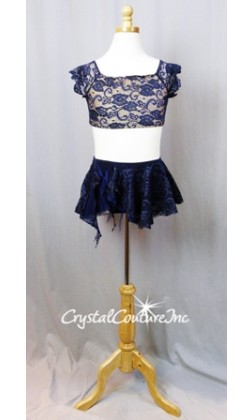 Navy Blue Lace Crop Top and Skirt with Trunks